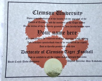"""College Football """"Doctorate"""" -  Any team, any sport"""