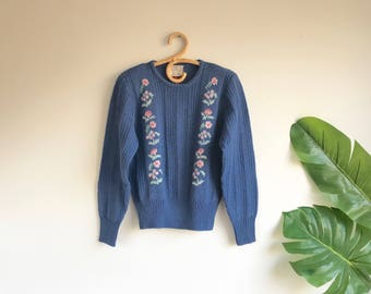 Vintage Blue Hand Embroidered Sweater by Susan Bristol Wool