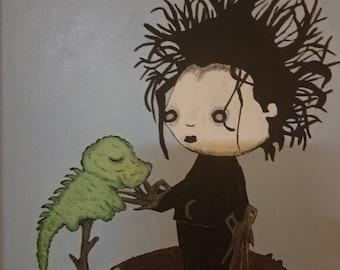 Edward Scissorhands with lizard