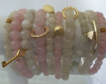 Rose Quartz and Moonstone Stackable Bracelets with Gold Charm - Natural Stone