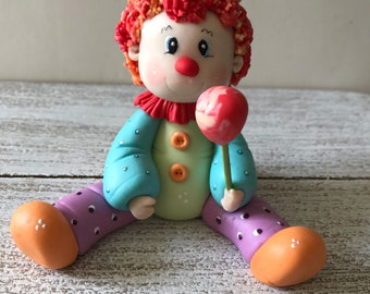 Clown Circus Cake Topper , cold porcelain, polymer clay .