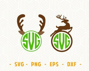 Deer monogram SVG Deer monogram frame eps png dxf Deer monogram svg files