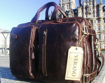 Genuine Italian Leather Briefcase Backpack Rucksack Duffle Shoulder Travel Flight Cabin Bag Mocha Brown Mens Birthday Gift Real Verano