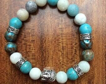 Amazonite turquoise Buddha bracelet