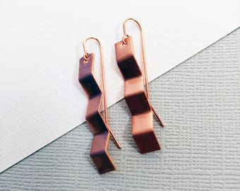Copper Metal Crinkled Dangle Boho Luxe Geometric Earrings - Rustic Elegance