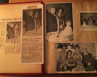 Genealogy KOFOD 1962 Scrapbook Silver Wedding Anniversary Telegram, Cards, Newspaper Clippings