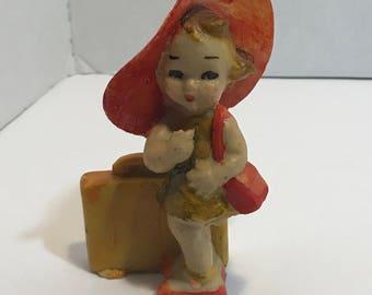 Chalkware Girl Figurine