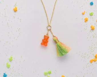 Gummy Bear Tulle Tassel Charm Necklace in Orange