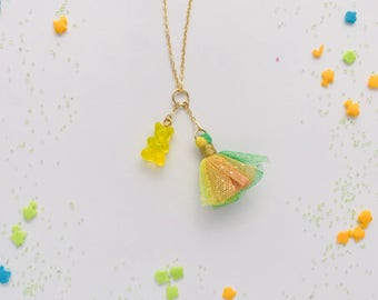 Gummy Bear Tulle Tassel Charm Necklace in Lemon Lime