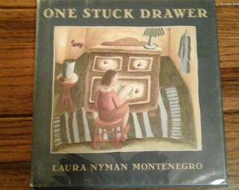 """Childrens Book Vintage  First Edition 1991 """"One Stuck Drawer"""" Beautifully Illustrated/ Montenegro/Houghton Miflin"""
