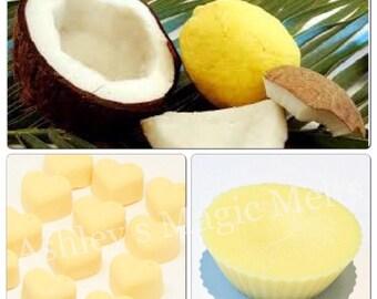 3 coconut lemon soy wax melts, fruity wax melts, citrus wax, cheap wax melts, wax tart melts, highly fragranced wax melts, wholesale wax