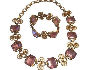 Vintage Art Deco Gold Design Necklace & Bracelet