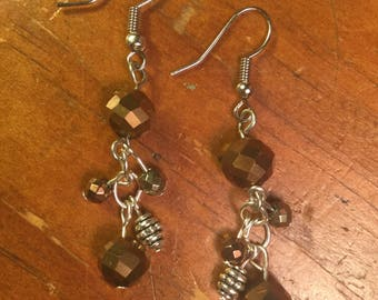 Bronze Bead Cluster Earrings