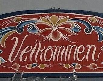 Norwegian Rosemaling Velkommen Welcome Sign