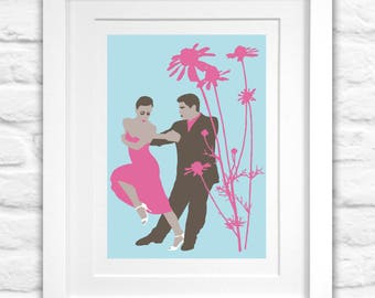 Dance Wall Art, Dancing Couple, Tango, Pink Dress, Bright Pink ,Giclée Print, Limited Edition, Home Decor, Gift for Dancers, Romantic Gift