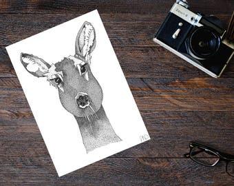 Hand-drawn Doe Print. (Limited Edition)