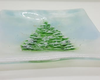 Winter Pine Fused Glass Dish