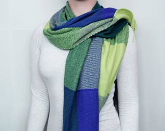 Green and Blue checked Scarf / Wrap