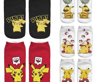 Pikachu Pokemon Pocket Monster Kaus kaki Hosiery Meias Calcetiness Calzini Chaussette cute low ankle cut socks High Quality Material