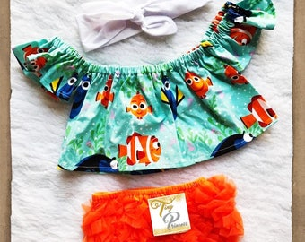 Free Shipping to US and PR,Finding dory inspired,Finding Nemo inspired,Crop top,Croptop,Top,Cotton finding nemo,Movie nemo,Bloomer