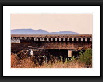 Fine Art Print of Railroad Bridge with Mountains in Valentine, Texas, West Texas, Mountains, Photograph