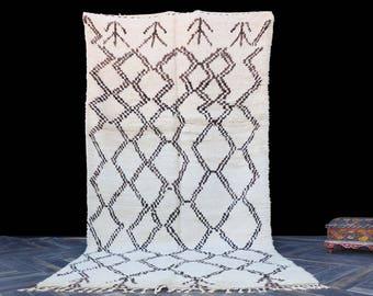 Moroccan Beni Ourain Rug - 4x9 Area Rug - Berber White Rug - Handmade Rug - Handwoven Rug - Berber Carpet - Moroccan Carpet - Vintage