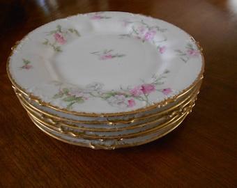 6 pcs  Antique Gold Plated Plates Set Vintage Plates