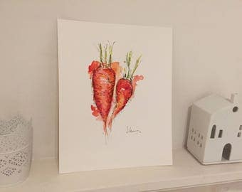 Original Carrots Watercolour Painting A4