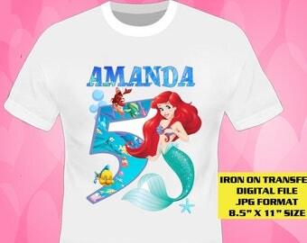 Mermaid Iron On Transfer , Mermaid, Mermaid Girl Birthday Shirt DIY , Mermaid Printable , Mermaid Personalize Transfer , Digital Files