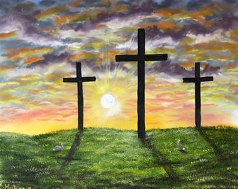 Easter cross Jesus has risen painting 16x20 with bunnies