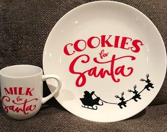Milk and Cookies for Santa - Plate and Mug