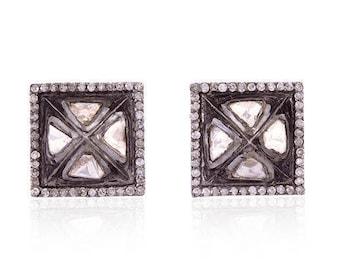 Polki Diamond 925 Sterling Silver Rose Cut Diamond Earrings Jewelry