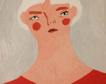 Oil PAINTING ORIGINAL PAINTING. Painting on paper. Woman.