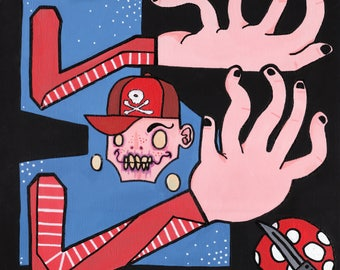 "Super Mario Bros Lowbrow Nintendo Art Acrylic Painting Fine Art Print 8.5"" X 11"""