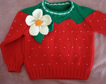 Vintage handmade sweater made from red wool yarn for a girl(3-4 years).baby sweater for girls, strawberry,