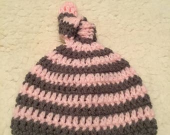 Pink and grey baby hat
