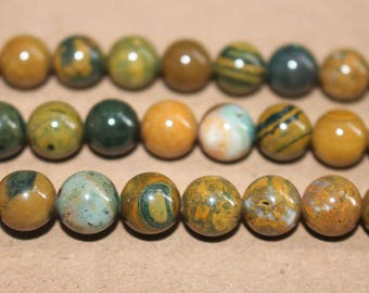 15 Inches Full strand,Natural Ocean Jasper smooth round beads 6mm 8mm 10mm  ,loose beads,semi-precious stone,