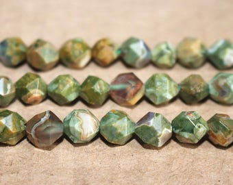 8mm Natural Birdseye Rhyolite faceted stars cut nugget beads Rainforest Rhyolite beads,loose beads,semi-precious stone,15 Inches Full strand