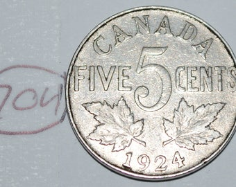Canada 1924 5 Cents George V Canadian Nickel Lot #704