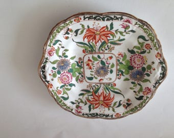 19th Century England Large interesting British Dish in Imari Style with Numbers,Signed  & with old Sotheby's label