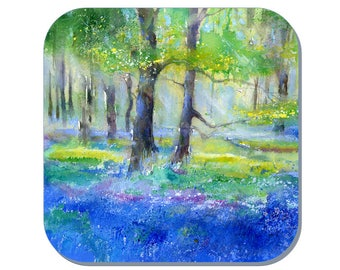 Bluebells - Scenes Coaster (Corked Back). From an original Sheila Gill Watercolour Painting