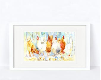 Brown or White - Chicken Print. Printed from an Original Sheila Gill Watercolour. Fine Art, Giclee Print, Hand Painted,Home Decor