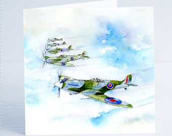 Spitfire WW2 Fighter Aircraft - Greeting Card - Taken from an original watercolour by Sheila Gill