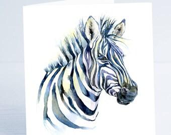 Zebra - Greeting Card - Taken from an original Sheila Gill Watercolour Painting.