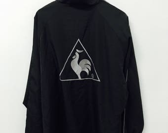 FREE SHIPPING!!! Vintage Le Coq Sportif Jacket Zipper Black Colour Large Size