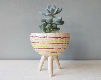 The Wobbly Lines Collection, Ceramic planter, succulent pot, cactus pot, plant pot, home studio pottery, home decor, pinch pot.
