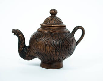 Antique Hand-carved Wooden Teapot/Planter