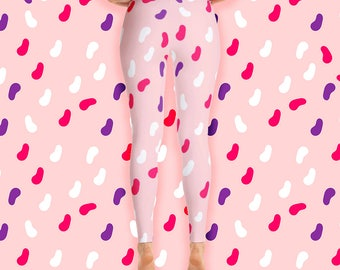 Jellybean candy leggings - sweet candy leggings - candy gift - food print - pink leggings - workout pants - workout leggings