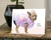 "FIONA ""Stay Fierce"" - dog rescue, dog greeting card, minimal design, dog photography, dog fashion"