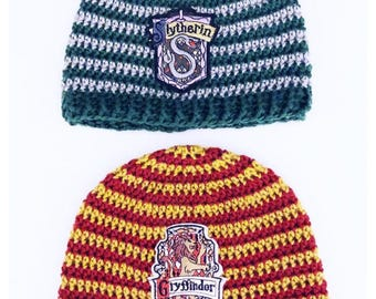 Slytherin Gryffindor Ravenclaw Hufflepuff Hogwarts House Beanie  Crochet Warm Winter